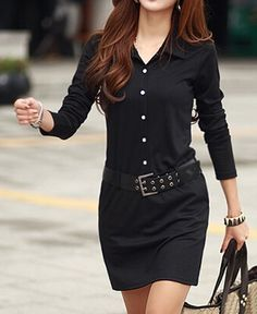 $14 Simple Turn-Down Collar Long Sleeve Solid Color Button Design With Belt Women's Dress