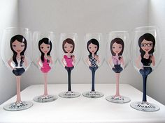 Create a Character Wine Glasses, Wedding Wine glasses, Custom wine glasses, Bridesmaid Wine Glasses,Personalized Wine Glasses on Etsy, $28.00