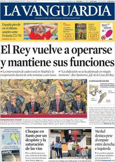 Los Titulares y Portadas de Noticias Destacadas Españolas del 21 de Septiembre de 2013 del Diario La Vanguardia ¿Que le pareció esta Portada de este Diario Español?