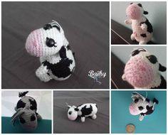 "Amigurumi d'une petite vache, inspiré du patron de ""studio ami"" : http://studio-ami.tumblr.com/post/18398308190/amigurumi-cow-pattern"