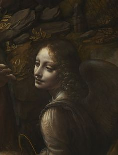 Angel detail from 'The Virgin of the Rocks'. There is a flawless beauty to this detail of the angel from Leonardo's masterpiece. This is the second Virgin of the Rocks that Leonardo produced, and the perfection with which he has rendered the angel here is indicative of the artist's shift in interest in his later career. Whilst his early works were concerned with accurately representing the natural world, he later sought to capture God's vision of the perfect realm.