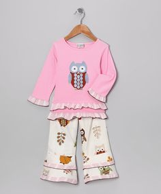 Look what I found on #zulily! Pink Night Owl Tunic & Ruffle Pants - Infant, Toddler & Girls #zulilyfinds