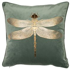 Fairmont Park A bold copper foil dragonfly motif decorates this rich velvet Cushion. Perfect as a way to add some shine to a dark corner. Green Cushions, Velvet Cushions, Scatter Cushions, Throw Pillows, Checked Cushions, Sofa Cushions, Green Copper, Green And Gold, Home Decor