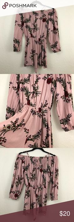 English Rose Floral Romper 🌺 🌺English Rose color floral romper by en creme  🌺Spaghetti straps optional or just wear it off shoulder  🌺Size Small En Creme Pants Jumpsuits & Rompers