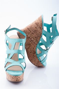 Quirky Cork Wedge Cage Sandal - Mint