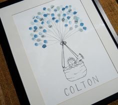 Baby Boy Baby Shower Thumbprint Guest Book -- this is a really good idea for any baby shower to show who was there to celebrate!
