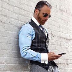 Grey Check Waistcoat - Chris Siegwald