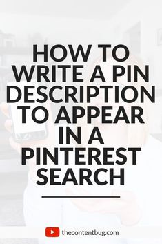 Pinterest is a powerful search engine for bloggers that help to drive blog traffic get more blog readers and create a larger audience online. But how do you get your pins to appear in a Pinterest search?! Well there are a few things that go into Pinterest SEO that you need to know. And one of the most important ones is your pin description. Learn how to write pin descriptions that will make your pins appear in a Pinterest search. #pinteresttips  - Pinterest Optimization ideas… Tips & Tricks, Seo Tips, Search Engine Marketing, Pinterest For Business, Search Engine Optimization, Seo Optimization, Pinterest Marketing, Social Media Tips, How To Start A Blog
