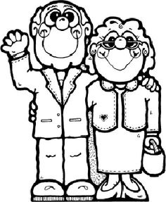 24 Grandparents Day Printable Coloring Pages Detailed Coloring Pages, Cute Coloring Pages, Cartoon Coloring Pages, Printable Coloring Pages, Coloring Pages For Kids, Free Coloring, Disney Princess Coloring Pages, Disney Princess Colors, Clipart Black And White