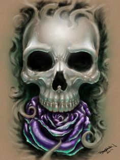 Skull with Purple rose