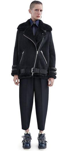 Acne Studios Velocite Suede Black Suede shearling jacket