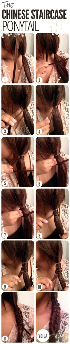 hair tutorial: the Chinese staircase ponytail. the little things I will be trying this style out on my little girl. Perfect school hairstyle. Very simple.