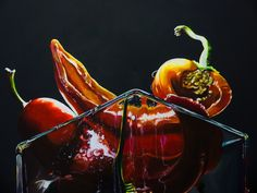 """""""My red passion"""" acrilico su tela 70x100 cm - acrilic on canvas 27x39"""" #red #redpeppers #peppers #glass #shadows #dark #light #acrilic #painting #art #artist #realism © Giulia Riva graphic&art Follow me on Instagram too: http://instagram.com/giuliariva_art"""