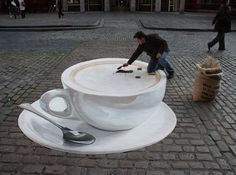 Amazing Street Paintings #coffee, #drinks, https://facebook.com/apps/application.php?id=106186096099420