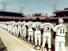 The 1984 team lines up for the national anthem at Tiger Stadium on Opening Day. The Tigers went on to win the World Series against the San Diego Padres that year.