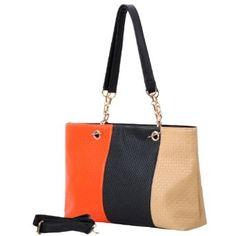 SUCHIN Orange Tan and Black Tri-Tone Embossed Woven Pattern Fashion Double Chain Top Handle Hobo Handbag Shopper Tote Satchel Purse Shoulder Bag w/Shoulder Strap,$29.99