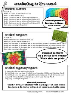 Crocheting in the round, Crochet a square, Crochet a granny square... by Stacey from Fresh stitches