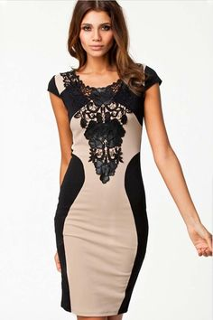 Sexy Lace Splicing Color Blocking Bodycon Dress