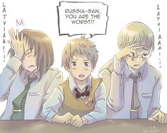 """Baltic trio by Oprisnyashka.  """"Hetalia Axis Powers fanart. Latvia, Lithuania, Estonia. Latvia always does/says something that makes Russia mad ...and other Baltic states to feel awkward.  Not only in Hetalia, but in real life too."""" #hetalia"""