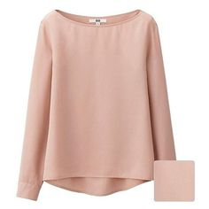 Silk Touch Boat Neck T Blouse (5 Colours) ❤ liked on Polyvore featuring tops, blouses, loose fitting tops, pink silk blouse, boat neck tops, silk top and loose fit tops