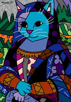 "Mona Cat 2004 40"" x 32"" Acrylic on Canvas; Romero Britto, Brazilian Artist"