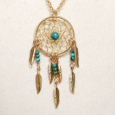 Dream Catcher Turquoise & Gold Dreamcatcher Necklace with Feathers ($28) ❤ liked on Polyvore featuring jewelry, necklaces, accessories, bead chain necklace, long gold necklace, long chain necklace, blue turquoise necklace and blue necklace