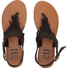 Billabong Women's All Tassled Sandals ($45) ❤ liked on Polyvore featuring shoes, sandals, black, sandals and flip flops, footwear, off black, black fringe shoes, black fringe sandals, ankle tie sandals and ankle wrap sandals