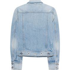 RAG&BONE Jean Jacket Avenida Eylt // Denim jacket with studs ($390) ❤ liked on Polyvore featuring outerwear, jackets, slim denim jacket, rag bone jacket, jean jacket, blue jackets and distressed jacket