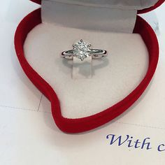 Round Cut Diamond Solitaire Engegement ring 1.00 CT D/SI1 14K White Gold Elegant Engagement Rings, Wedding Engagement, Woman Clothing, Round Cut Diamond, Lovely Things, Heart Ring, White Gold, Clothes For Women, Future