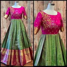 Choli dress - what's app us on 8341382382 or Mail us tejasarees com LikeNeverBefore Tejasarees… Kalamkari Dresses, Ikkat Dresses, Maxi Dresses, Fashion Dresses, Choli Dress, Saree Gown, Lehenga Choli, Half Saree Designs, Blouse Designs Silk