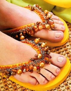 Embelish your sandals with Beads-10 Ways to DIY