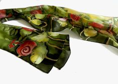 Hand painted silk scarf in green and red  with by ArmeniaOnSilk, $95.00