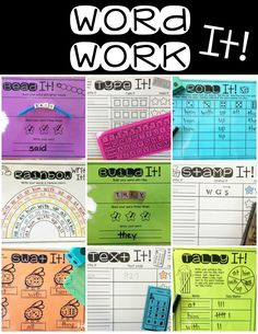 Word work activities that can be customized with the words your choose.