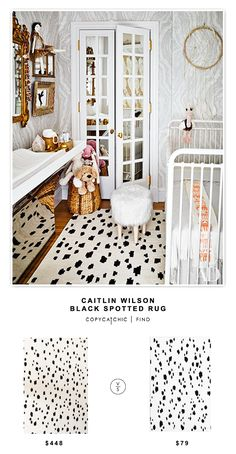 Caitlin Wilson Black Spotted Rug for $448 vs @society6 Chad Wys Snow Leopard Rug for $79 | @copycatchic look for less budget home decor and design
