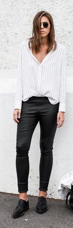 White Pinstriped Button Down #Fashionistas