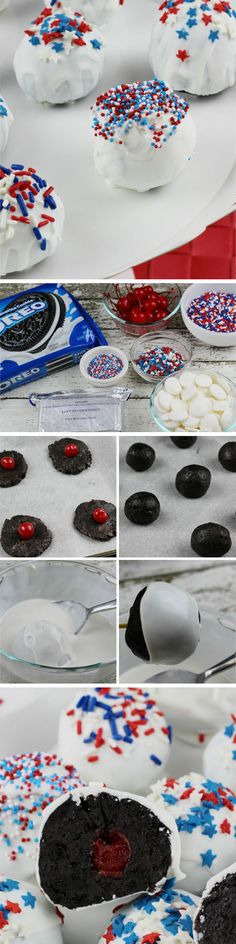 Cherry-Stuffed Patriotic Oreos | 15 Easy 4th of July Party Food Ideas for a Crowd | Red White and Blue Party Food Ideas for Kids