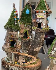 Fairy House Crafts, Fairy Tree Houses, Fairy Village, Fairy Garden Houses, Garden Crafts, Fairy Garden Furniture, Garden Beds, Miniature Fairy Gardens, Indoor Fairy Gardens