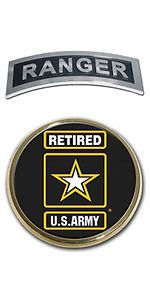US Army Retired Star Logo Seal and Ranger Emblem Real Metal Chrome Auto Decal