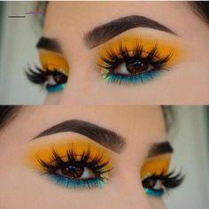 #makeupeyeshadow Yellow Makeup, Yellow Eyeshadow, Colorful Eye Makeup, Makeup Eyeshadow, Hair Makeup, Eyeshadow Palette, Colorful Eyeshadow, Makeup Palette, Summer Eye Makeup