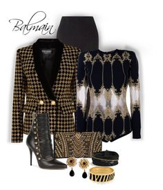 """Balmain...Black and Gold"" by onesweetthing ❤ liked on Polyvore featuring Balmain, Dolce&Gabbana, Halcyon Days and David Yurman"