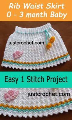 Free baby crochet pattern | for ribbed waist skirt design | #crochet