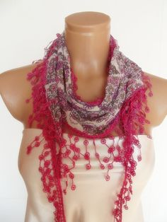 scarf with lace pink flowered pattern by smilingpoet on Etsy, $15.90... super cute!