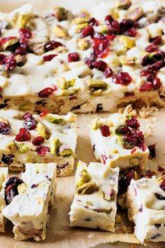 White chocolate, pistachio and cranberry rocky road