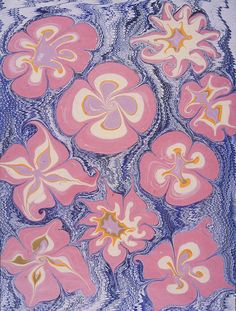 Marbled paper – Figural flowers pattern, modern, by Peggy Skycraft – My CMS Flower Patterns, Print Patterns, Ebru Art, Water Marbling, Turkish Art, Marble Art, Handmade Books, Textiles, Types Of Art