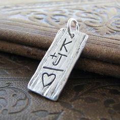 Personalized PMC Fine Silver Artisan Pendant Woodgrain