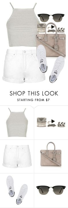 """Style #10147"" by vany-alvarado ❤ liked on Polyvore featuring Topshop, Forever 21, Yves Saint Laurent, adidas Originals and Ray-Ban"