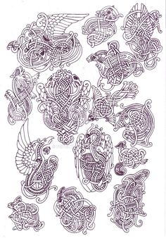 Zoomorphic knotwork doodle page by Feivelyn on DeviantArt