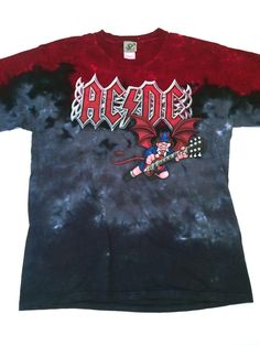 3af991d392e ACDC AC DC Liquid Blue Flying Devil Playing Guitar Tie Dye Red Blue Shirt  Men L