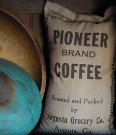 Prim wood bowls bag of coffee. Luv it!