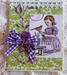 Robin Red Breast card by Diane Hover from Nellies Nest Blog who used an image from Crafty Secrets Garden Girls Digital Stamps with Garden Papers. The image and paper are a free printable if you use them in the March Linky Party and join in